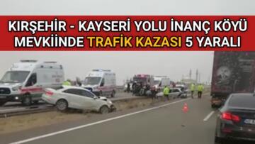 İNAÇ KÖYÜ KAVŞAĞINDA TRAFİK KAZASI 5 YARALI