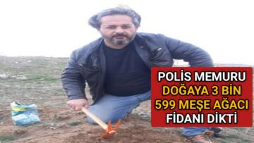 POLİS MEMURU DOĞAYA 3 BİN 599 MEŞE AĞACI FİDANI DİKTİ